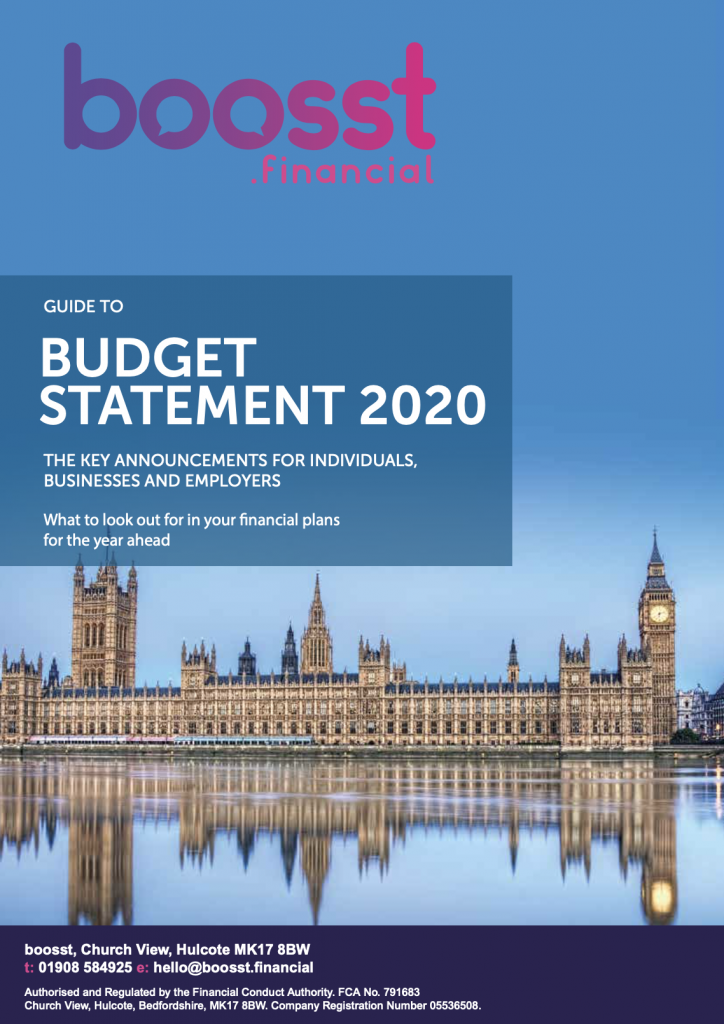 boosst Budget 2020 Front Page